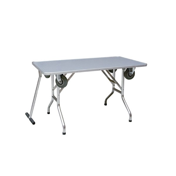 Table de toilettage pliante sur roulette pet elevage - Table pliante a roulettes ...